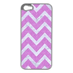 Chevron9 White Marble & Purple Colored Pencil Apple Iphone 5 Case (silver)