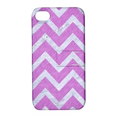 Chevron9 White Marble & Purple Colored Pencil Apple Iphone 4/4s Hardshell Case With Stand by trendistuff