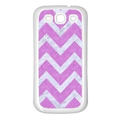 Chevron9 White Marble & Purple Colored Pencil Samsung Galaxy S3 Back Case (white)