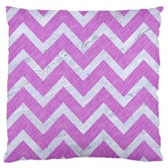 Chevron9 White Marble & Purple Colored Pencil Large Flano Cushion Case (two Sides)