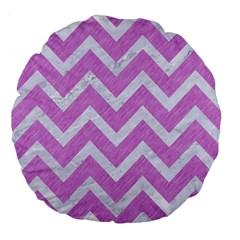 Chevron9 White Marble & Purple Colored Pencil Large 18  Premium Flano Round Cushions