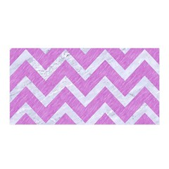 Chevron9 White Marble & Purple Colored Pencil Satin Wrap