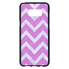Chevron9 White Marble & Purple Colored Pencil Samsung Galaxy S8 Plus Black Seamless Case