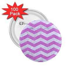 Chevron3 White Marble & Purple Colored Pencil 2 25  Buttons (100 Pack)
