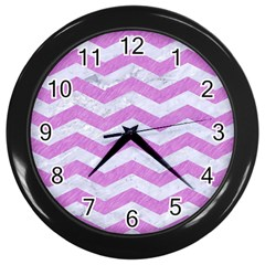 Chevron3 White Marble & Purple Colored Pencil Wall Clocks (black)
