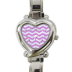Chevron3 White Marble & Purple Colored Pencil Heart Italian Charm Watch