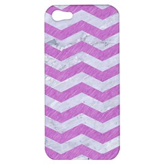 Chevron3 White Marble & Purple Colored Pencil Apple Iphone 5 Hardshell Case