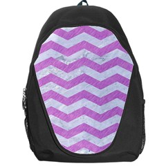 Chevron3 White Marble & Purple Colored Pencil Backpack Bag