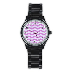 Chevron3 White Marble & Purple Colored Pencil Stainless Steel Round Watch