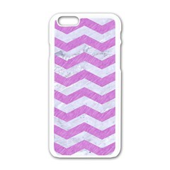 Chevron3 White Marble & Purple Colored Pencil Apple Iphone 6/6s White Enamel Case
