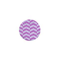 Chevron2 White Marble & Purple Colored Pencil 1  Mini Buttons