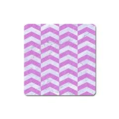 Chevron2 White Marble & Purple Colored Pencil Square Magnet