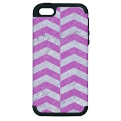 Chevron2 White Marble & Purple Colored Pencil Apple Iphone 5 Hardshell Case (pc+silicone)