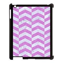Chevron2 White Marble & Purple Colored Pencil Apple Ipad 3/4 Case (black)