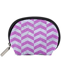 Chevron2 White Marble & Purple Colored Pencil Accessory Pouches (small)