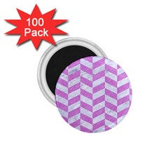 Chevron1 White Marble & Purple Colored Pencil 1 75  Magnets (100 Pack)