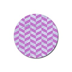 Chevron1 White Marble & Purple Colored Pencil Rubber Coaster (round)