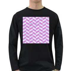 Chevron1 White Marble & Purple Colored Pencil Long Sleeve Dark T Shirts