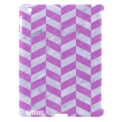 Chevron1 White Marble & Purple Colored Pencil Apple Ipad 3/4 Hardshell Case (compatible With Smart Cover)
