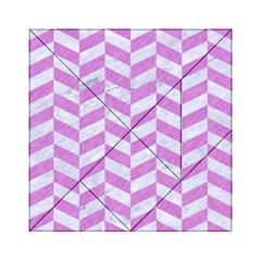 Chevron1 White Marble & Purple Colored Pencil Acrylic Tangram Puzzle (6  X 6 )