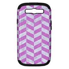 Chevron1 White Marble & Purple Colored Pencil Samsung Galaxy S Iii Hardshell Case (pc+silicone)