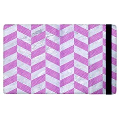 Chevron1 White Marble & Purple Colored Pencil Apple Ipad 2 Flip Case