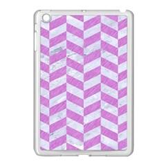 Chevron1 White Marble & Purple Colored Pencil Apple Ipad Mini Case (white) by trendistuff