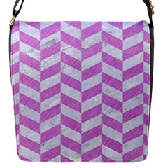 Chevron1 White Marble & Purple Colored Pencil Flap Messenger Bag (s)