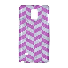 Chevron1 White Marble & Purple Colored Pencil Samsung Galaxy Note 4 Hardshell Case by trendistuff