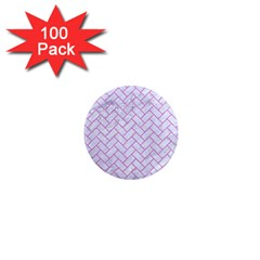 Brick2 White Marble & Purple Colored Pencil (r) 1  Mini Magnets (100 Pack)