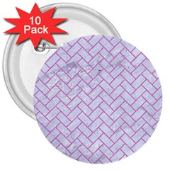 Brick2 White Marble & Purple Colored Pencil (r) 3  Buttons (10 Pack)