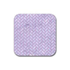 Brick2 White Marble & Purple Colored Pencil (r) Rubber Coaster (square)