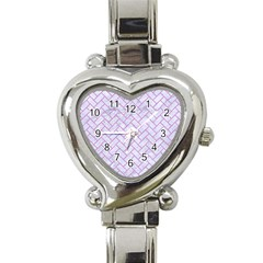 Brick2 White Marble & Purple Colored Pencil (r) Heart Italian Charm Watch