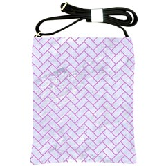 Brick2 White Marble & Purple Colored Pencil (r) Shoulder Sling Bags by trendistuff