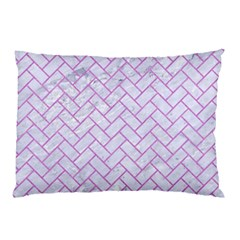 Brick2 White Marble & Purple Colored Pencil (r) Pillow Case (two Sides)