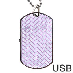 Brick2 White Marble & Purple Colored Pencil (r) Dog Tag Usb Flash (one Side)