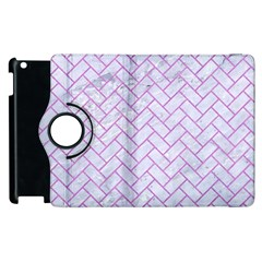 Brick2 White Marble & Purple Colored Pencil (r) Apple Ipad 3/4 Flip 360 Case by trendistuff