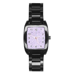 Brick2 White Marble & Purple Colored Pencil (r) Stainless Steel Barrel Watch by trendistuff