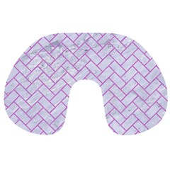 Brick2 White Marble & Purple Colored Pencil (r) Travel Neck Pillows