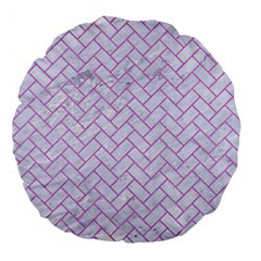 Brick2 White Marble & Purple Colored Pencil (r) Large 18  Premium Flano Round Cushions by trendistuff