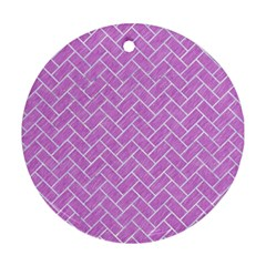 Brick2 White Marble & Purple Colored Pencil Ornament (round) by trendistuff