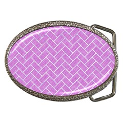 Brick2 White Marble & Purple Colored Pencil Belt Buckles