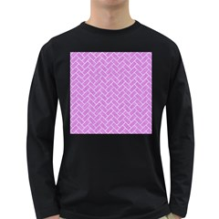 Brick2 White Marble & Purple Colored Pencil Long Sleeve Dark T Shirts