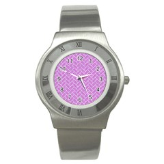 Brick2 White Marble & Purple Colored Pencil Stainless Steel Watch