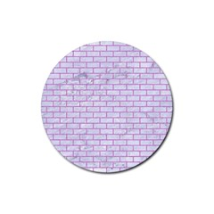 Brick1 White Marble & Purple Colored Pencil (r) Rubber Round Coaster (4 Pack)