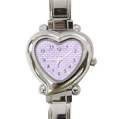 Brick1 White Marble & Purple Colored Pencil (r) Heart Italian Charm Watch