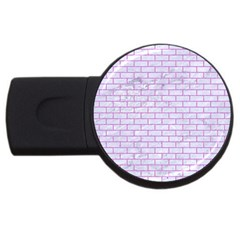 Brick1 White Marble & Purple Colored Pencil (r) Usb Flash Drive Round (4 Gb)