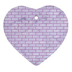 Brick1 White Marble & Purple Colored Pencil (r) Heart Ornament (two Sides)