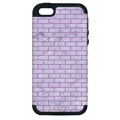 Brick1 White Marble & Purple Colored Pencil (r) Apple Iphone 5 Hardshell Case (pc+silicone)