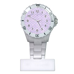 Brick1 White Marble & Purple Colored Pencil (r) Plastic Nurses Watch by trendistuff